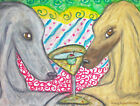 ACEO Afghan Hound Drinking a Martini Dog Collectible Signed Art Card Print KSams