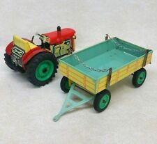Vintage Tin Litho Zetor Tractor and Trailer Unused W/ Box