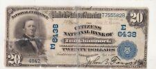 $20 1902 PB Citizens National TUNKHANNOCK Pennsylvania PA MEGA RARE 2 on Census!