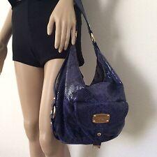 MICHAEL KORS Brimfied Lapis Blue Python Embossed Leather Hobo Shoulder Bag EUC