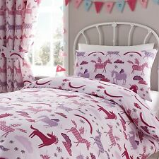"""Happy Linen Co Unicorn Pink Girls Fully Lined Pencil Pleat Curtain Set 66"""" X 72"""""""
