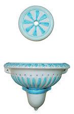 FONTANA rosone azzurro DECORATA in ceramica A PARETE da GIARDINO