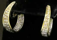 Vintage heavy 14K YG 1.88CT diamond in & out hoop earrings with screw backs