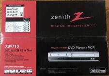 Zenith Xbv713 Vhs Vcr 4 Head Hi Fi Stereo Progressive Scan Dvd Player Combo