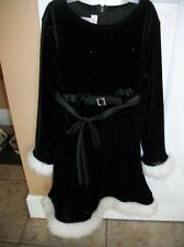 KIDS BLACK AND WHITE CHRISTMAS HOLIDAY DRESS SIZE 6X LONG SLEEVE BONNIE JEAN