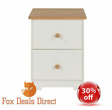 Bedside Cabinet White And Oak Petite 2 Drawer Table Colorado Bedroom Furniture