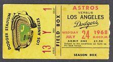 1968 BASEBALL LOS ANGELES DODGERS (DON DRYSDALE) vs. HOUSTON ASTROS TICKET STUB