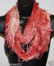 Women Fashion Fancy two tone double sided Forever Infinity Scarf Peach