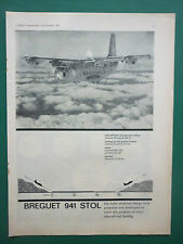 11/1963 PUB AVIATION LOUIS BREGUET 941 STOL MISSIONS SPECIALES ORIGINAL AD