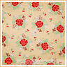 BonEful Fabric FQ Cotton Quilt CHERRY S Heart Yellow Red Rose Flower Shabby Chic