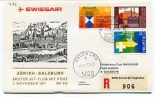 FFC 1977 Swissair First Flight Zurich Salzburg REGISTERED Flughafen Jet Flug