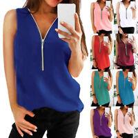 Womens Zipper Sleeveless Casual Vest Tops Blouse Ladies Summer Loose T Shirt Top