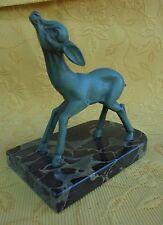 Statuette animalière faon biche régule  marbre presse-papier Art-déco 1930 N1798