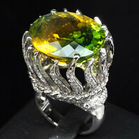 GREEN YELLOW AMETRINE RING OVAL 20.20 CT. SAPPHIRE 925 STERLING SILVER SZ 6.5