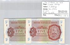 Royaume-Uni Lot de deux 5 Shillings Non daté (1943) Lettre E - S