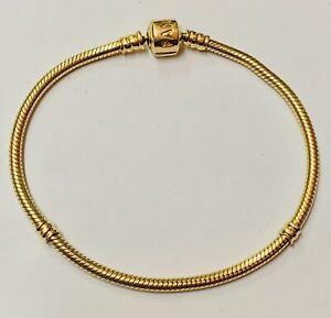 """Genuine PANDORA 585 14K Gold Charm Bracelet 21cm Length"" Heavy 19.5g"