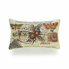 HOF Deco Decorative Lumbar Pillow Case Vintage French Country Bee Collage Indoor