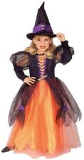Girls PRETTY WITCH Halloween Costume Orange & Black Dress Hat Medium 8 10 Rubies