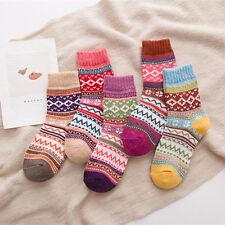 5 Pairs Womens Ladies Socks Knit Printed Winter Warmers Warm Wool Casual Socks