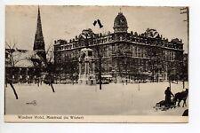 CANADA carte postale ancienne MONTREAL hotel Windsor hiver neige luge troika