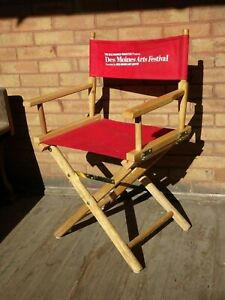 """Wooden Director Chair Natural Wood Frame Red Canvas 18"""" Portable Folding"""