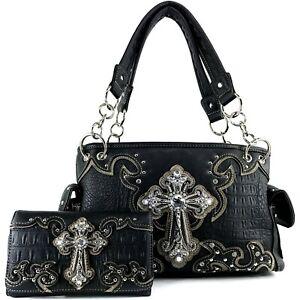 Black Concealed Carry Western Croc Cross Duo Color Shoulder Handbag Purse