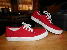 Woman's Vintage Pro Keds Athletic Red White Shoes Lace Canvas Sneakers Sz 7.5