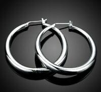 Womens Silver Elegant 40mm Round Hoop Fashion Earrings #E216