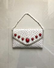 Women Multi Color Unbranded Beaded Clutch Evening Handbag sz M