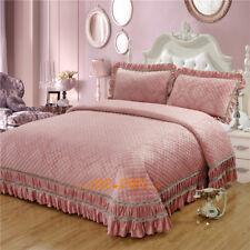 Super King Size Bed Patchwork Quilted Bedspread/coverlet Set Cotton Floral Pink