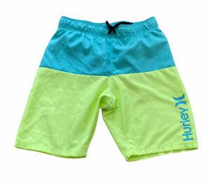 Youth Hurley Turquoise & Neon Swim Trunks Board Shorts Sz Boys 7 / 8