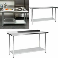 """Commercial Stainless Steel 24"""" x 60"""" Work Prep Cooking Kitchen Table Backsplash"""
