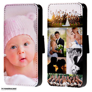 PERSONALISED PHOTO COLLAGE FLIP WALLET PHONE CASE COVER FOR IPHONE & SAMSUNG