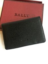 New BALLY Black Leather Business Card Holder Wallet