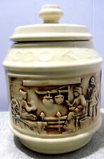 COVERED CANISTER/COOKIE JAR~FRONTIER THEME~VINTAGE CERAMIC