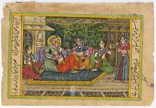 Mughal King Harem Painting Miniature Hand Painted Watercolor Mogul Wall Hanging