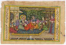 Mughal King Harem Painting Miniature Hand Painted Watercolor Mogul Wall Hanging