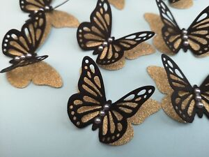 Rustic Wedding Table Decorations Paper Butterflies Black &Gold Layered Butterfly