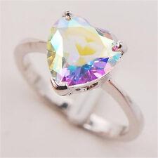 Women 925 Silver Colorful Crystal Rhinestone Heart Rings Wedding Bridal Jewelry