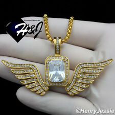 """20""""MEN Stainless Steel 3mm Gold Box Link Chain Necklace Clear Wing Pendant*GP108"""