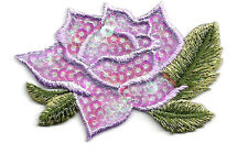 ROSE - FLOWER - PURPLE SEQUINS/EMBROIDERED IRON ON APPLIQUE PATCH