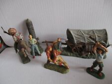 ELASTOLIN Masse Wild West Western 5 Figuren + Kutsche Planwagen 30er-50er