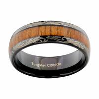 Black Tungsten carbide Ring Koa Wood Inlay Dome Wedding Band Men's Jewelry 8mm