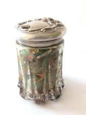 More details for art nouveau  decoupaged cigar labels in cut glass jar with s/p embossed lid.