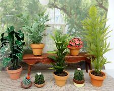 Vintage Potted Plant Lot Cactus & Flowers Dollhouse Miniatures 1:12