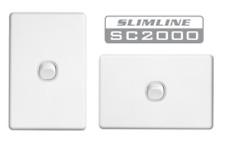 Clipsal Slimline One ( 1 ) Gang Light Switch Wall Plate 10amp SC2031VA White