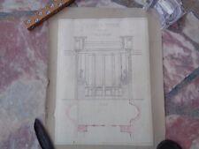 Dessin Plan Architecte Architecture début XXème Signé Cloison Vitrée élévation