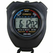 HANDHELD ROUND DIAL DIGITAL STOPWATCH ALARM SPORTS COUNTER WITH STRAP FINE