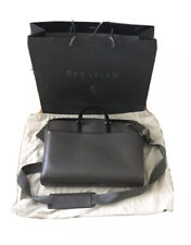 SERAPIAN Business Bag Briefcase Genuine Saffiano Leather Grey
