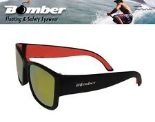 Bomber Floating GOMER Sunglasses Matte Black w/ Red Mirror Lens Mens Surfing